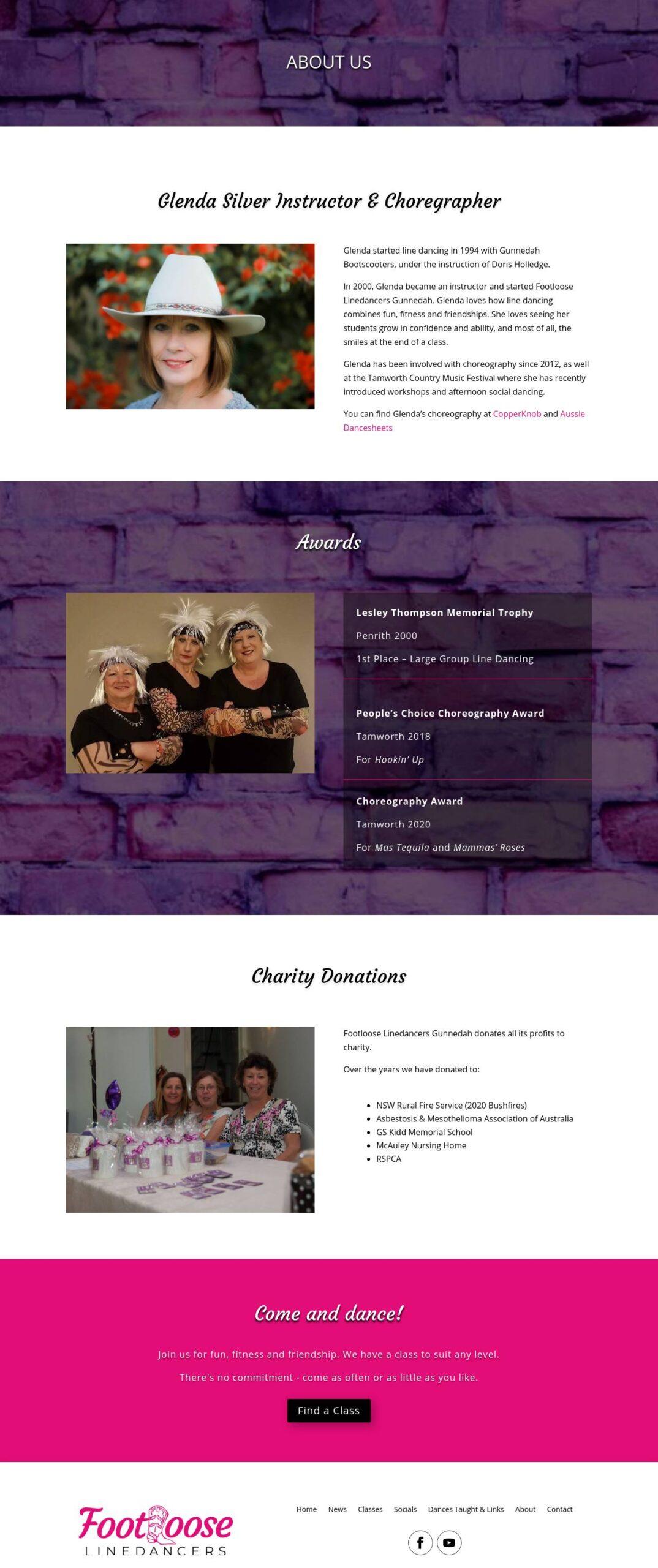 Footloose Linedancers Gunnedah Webpage Design